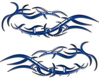 Split Tribal Style Flame Graphics in Blue