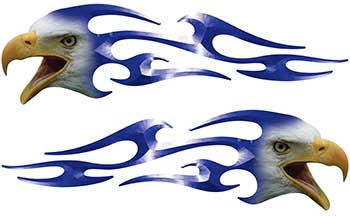 Screaming Eagle Head Tribal Flame Graphic Kit in Blue