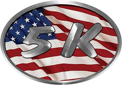 Oval Marathon Running Decal 5K with American Flag