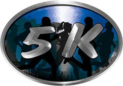 Oval Marathon Running Decal 5K in Blue with Runners