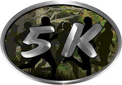 Oval Marathon Running Decal 5K in Camouflage with Runners