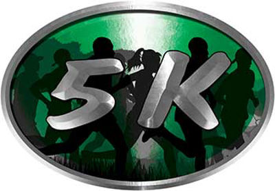 Oval Marathon Running Decal 5K in Green with Runners