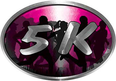 Oval Marathon Running Decal 5K in Pink with Runners