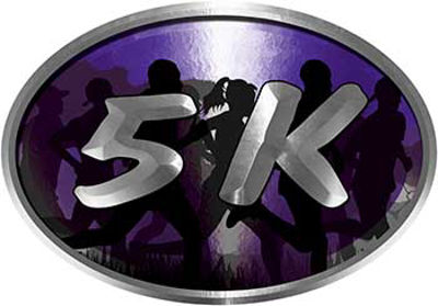 Oval Marathon Running Decal 5K in Purple with Runners