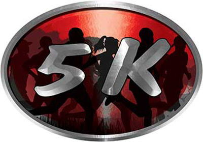 Oval Marathon Running Decal 5K in Red with Runners