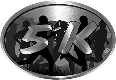 Oval Marathon Running Decal 5K in Silver with Runners