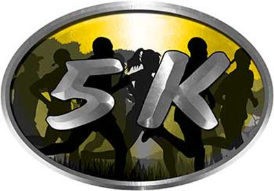 Oval Marathon Running Decal 5K in Yellow with Runners