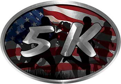 Oval Marathon Running Decal 5K with American Flag with Runners