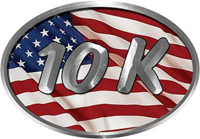 Oval Marathon Running Decal 10K with American Flag