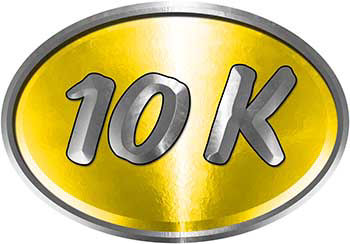 Oval Marathon Running Decal 10K in Yellow