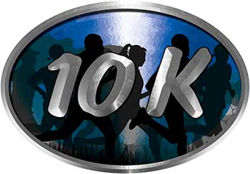 Oval Marathon Running Decal 10K in Blue with Runners