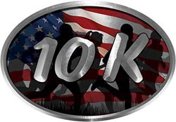 Oval Marathon Running Decal 10K American Flag with Runners