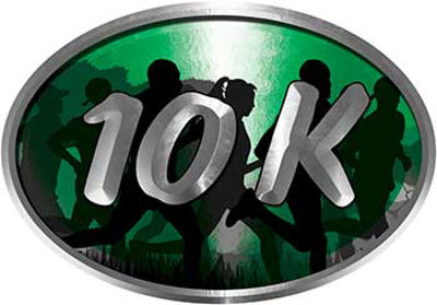 Oval Marathon Running Decal 10K Green with Runners