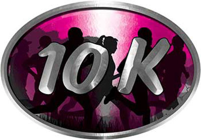 Oval Marathon Running Decal 10K Pink with Runners