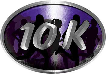Oval Marathon Running Decal 10K in Purple with Runners