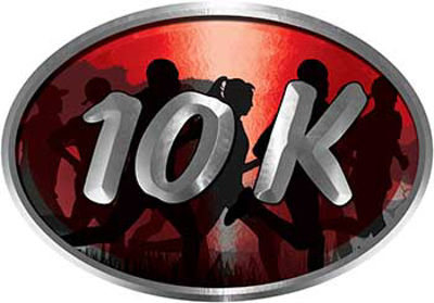 Oval Marathon Running Decal 10K in Red with Runners