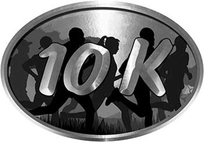 Oval Marathon Running Decal 10K in Silver with Runners