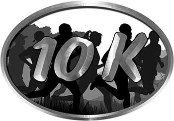 Oval Marathon Running Decal 10K in White with Runners