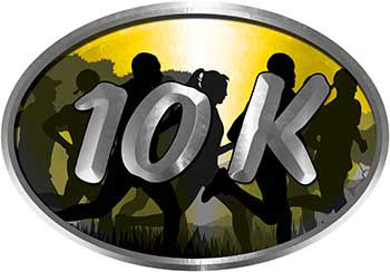 Oval Marathon Running Decal 10K in Yellow with Runners