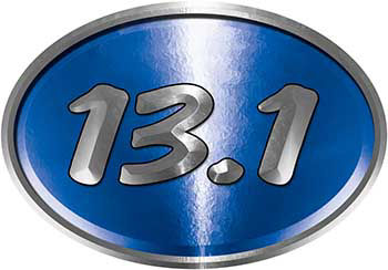 Oval Marathon Running Decal 13.1 in Blue