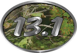 Oval Marathon Running Decal 13.1 in Camouflage