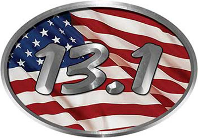 Oval Marathon Running Decal 13.1 with American Flag