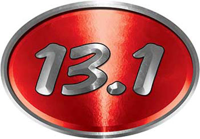 Oval Marathon Running Decal 13.1 in Red