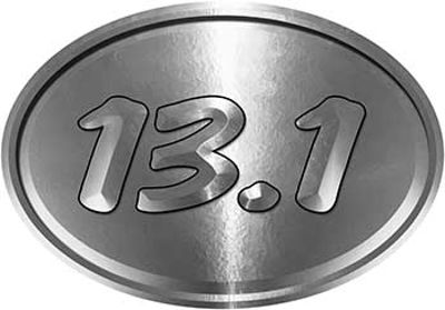 Oval Marathon Running Decal 13.1 in Silver