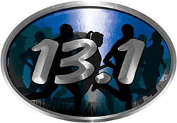 Oval Marathon Running Decal 13.1 in Blue with Runners