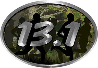 Oval Marathon Running Decal 13.1 in Camouflage with Runners