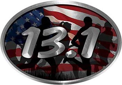 Oval Marathon Running Decal 13.1 with American Flag and Runners