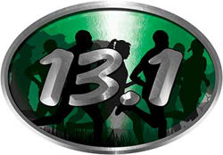 Oval Marathon Running Decal 13.1 in Green with Runners
