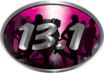 Oval Marathon Running Decal 13.1 in Pink with Runners