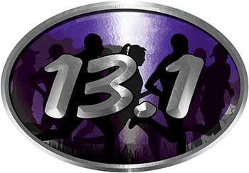 Oval Marathon Running Decal 13.1 in Purple with Runners