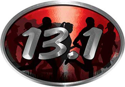Oval Marathon Running Decal 13.1 in Red with Runners