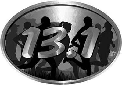 Oval Marathon Running Decal 13.1 in Silver with Runners