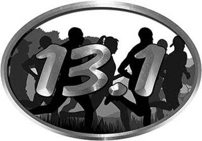 Oval Marathon Running Decal 13.1 in White with Runners