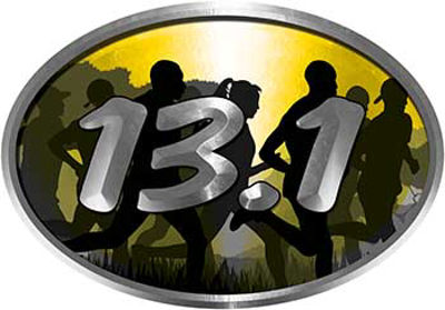 Oval Marathon Running Decal 13.1 in Yellow with Runners