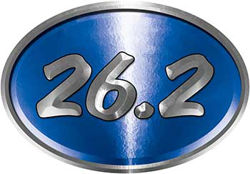 Oval Marathon Running Decal 26.2 in Blue