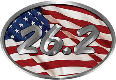 Oval Marathon Running Decal 26.2 with American Flag