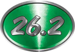 Oval Marathon Running Decal 26.2 in Green
