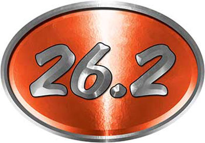 Oval Marathon Running Decal 26.2 in Orange