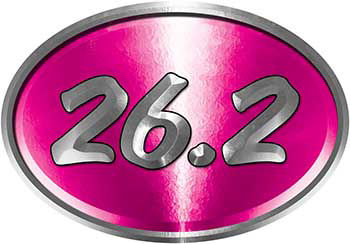 Oval Marathon Running Decal 26.2 in Pink