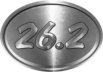 Oval Marathon Running Decal 26.2 in Silver