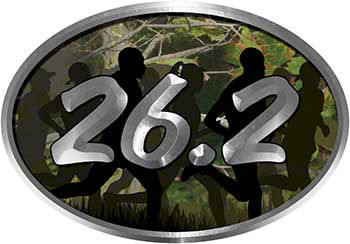 Oval Marathon Running Decal 26.2 in Camouflage with Runners
