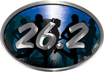 Oval Marathon Running Decal 26.2 in Blue with Runners