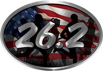 Oval Marathon Running Decal 26.2 with American Flag and Runners