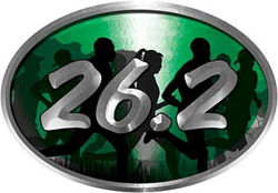 Oval Marathon Running Decal 26.2 in Green with Runners