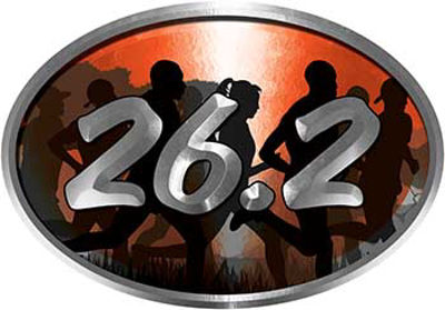 Oval Marathon Running Decal 26.2 in Orange with Runners