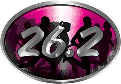 Oval Marathon Running Decal 26.2 in Pink with Runners